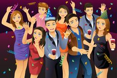 Young People Having New Year Party Illustration. A vector illustration of Young People Having New Year Party Royalty Free Stock Photo