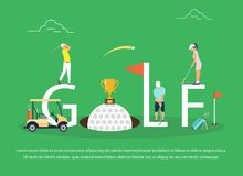 Vector illustration of young people playing Golf. Flat design Stock Images