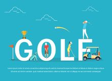 Vector illustration of young people playing Golf. Flat design Stock Photo