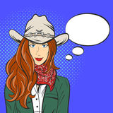 Vector illustration of young pretty girl in cowboy hat. Pop art Stock Photo