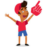 Vector illustration of young sports Fan wearing foam hand isolated on white background. Vector illustration of young sports Fan wearing foam hand rooting for his Royalty Free Stock Photo