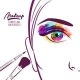 Vector illustration of young woman face with colorful eye and makeup brushes. Stock Photo
