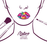Vector illustration of young woman face with colorful lips and makeup brushes.   Stock Photo