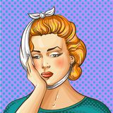 Vector vintage pop art illustration of woman having toothache Royalty Free Stock Photography