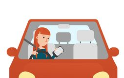 The Young Woman Looking at hers Mobil Phone while Driving. Vector Illustration. The Young Woman Looking at hers Mobil Phone while Driving stock illustration
