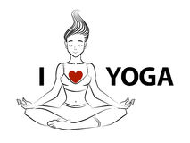 Vector illustration of a young woman in lotus pose with text I love yoga. Line art Stock Images