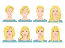 Vector illustration of young woman`s face with different hair style. On white background Stock Images