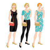 Vector illustration of young women in different clothes. Royalty Free Stock Image