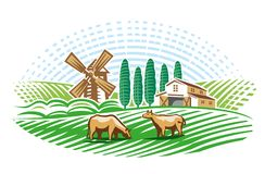 Landscape with mill and farm. Version royalty free stock images