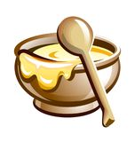 Porridge in the pot with wooden spoon. Vector illustration for your projects Stock Photography