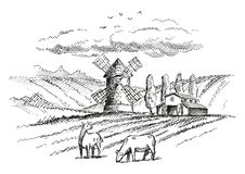 Rural landscape with mill and farm. Version stock photos