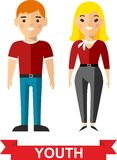 Vector illustration of a youth man and woman. Set of young girl and boy, teenagers, youth man and woman Royalty Free Stock Image