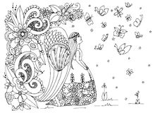 Vector illustration Zen Tangle angel girl with flowers. Doodle drawing. Coloring book anti stress for adults. Black Stock Photography
