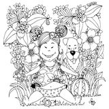 Vector illustration Zen Tangle baby little girl with a dog in the flowers. Doodle drawing. Coloring book anti stress for Stock Images