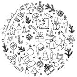 Vector illustration Zen Tangle, circle elements Christmas. Doodle drawing.  Royalty Free Stock Images