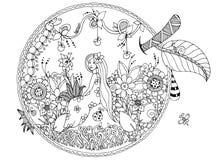 Vector Illustration Zen Tangle, das Mädchen, das in einem Apfel sitzt Gekritzelblumen Malbuchantidruck für Erwachsene schwarzes Lizenzfreies Stockfoto