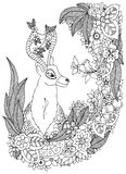 Vector illustration Zen Tangle deer in a flower frame. Doodle drawing. Coloring book anti stress for adults. Black white Royalty Free Stock Photography