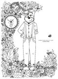 Vector illustration Zen Tangle, a dog in a flower frame. Doodle drawing. Coloring book anti stress for adults. Black white Royalty Free Stock Image
