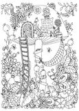 Vector illustration Zen Tangle, doodle house of the fungus in the forest.. Doodle flowers. Coloring book anti stress for adults. Coloring page. Black and white Royalty Free Stock Photo
