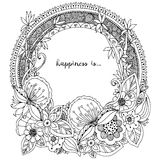 Vector illustration Zen Tangle, doodle round frame with flowers, mandala. Coloring book anti stress for adults. Black white. Royalty Free Stock Image