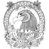 Vector illustration Zen Tangle eagle round frame floral. Doodle flower. Coloring book anti stress for adults. Black white. Royalty Free Stock Image