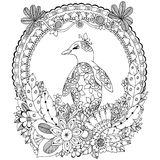 Vector Illustration Zen Tangle, ein Pinguin im Blumenrahmen Vektor ENV 10 Malbuchantidruck für Erwachsene schwarzes Stockbild