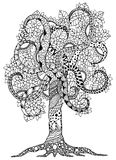 Vector illustration Zen Tangle, flower tree with ornaments.  Royalty Free Stock Photos