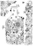Vector illustration Zen Tangle with flowers bottle. Doodle flowers frame. Coloring book anti stress for adults. Black white. Vector illustration Zen Tangle with royalty free illustration