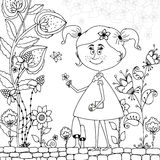 Vector illustration Zen Tangle girl in a floral Doodle flowers, tree.. Vector illustration Zen Tangle girl in a floral . Doodle flowers, tree. Coloring book Royalty Free Stock Photo