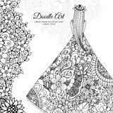 Vector illustration Zen Tangle girl in a floral dress. Doodle flowers, tree. Coloring book antis stress for adults. Black and white Stock Photography