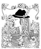 Vector illustration Zen Tangle girl in hat and flowers. Doodle drawing  Royalty Free Stock Image