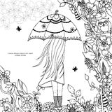 Vector illustration Zen Tangle, a girl with an umbrella in the park.  Stock Photo