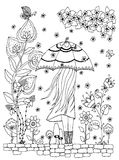 Vector illustration Zen Tangle, a girl with an umbrella in the park. Doodle drawing.  Stock Images