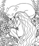 Vector illustration Zen Tangle girl and the wolf sleeping in the flowers. Doodle drawing. Meditative exercises. Coloring Stock Images