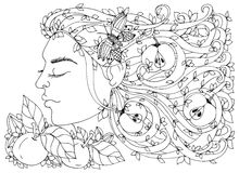 Vector illustration Zen Tangle, girl, woman with flowers in her hair, apples.  Royalty Free Stock Photo