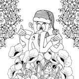 Vector illustration Zen Tangle, gnome holding Sale inscription. Doodle flowers. Coloring book anti stress for adults Royalty Free Stock Photography