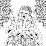 Vector illustration Zen Tangle, gnome holding Sale inscription. Doodle flowers.   Stock Photo