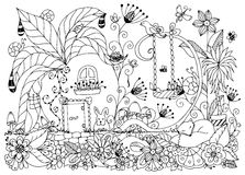 Vector illustration Zen Tangle house radishes. Vector illustration Zen Tangle house of radishes. Doodle flowers, garden, nature, forest. Coloring book anti Royalty Free Stock Image