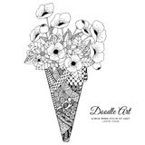 Vector illustration Zen Tangle, ice cream with poppies. Doodle drawing. Coloring book anti stress for adults. Black Royalty Free Stock Photos