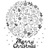 Vector illustration Zen Tangle, lettering Merry Christmas. Round set with elements. Royalty Free Stock Image