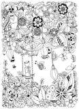 Vector Illustration Zen Tangle-Mädchen auf einem Schwingen in den Blumen Stockfotos