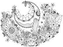 Vector Illustration Zen Tangle-Mädchen auf einem Schwingen in den Blumen Malbuchantidruck für Erwachsene Farbtonseite Stockfoto