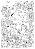 Vector Illustration Zen Tangle-Mädchen mit den Sommersprossen, die hinter einem Pilz versteckt werden Stockfotos