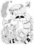 Vector Illustration Zen Tangle-Mädchen mit Sommersprossen und einem Waschbären Lizenzfreie Stockfotografie