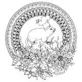 Vector illustration Zen Tangle, Mouse cook in a round floral frame. Stock Photo