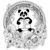 Vector illustration Zen Tangle panda with a book Floral circle frame. Doodle flower. Coloring book anti stress for adults. Black. And white royalty free illustration