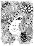 Vector Illustration Zen Tangle-Porträt einer Frau in einem Blumenrahmen Gekritzelblumen, Wald, Garten Malbuchantidruck FO Lizenzfreies Stockbild