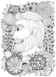 Vector illustration Zen Tangle portrait of a man with an ornament. Doodle floral frame. Coloring book anti stress for Royalty Free Stock Photos