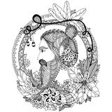 Vector illustration Zen Tangle portrait of a man with an ornament. Doodle floral frame.  Royalty Free Stock Photography
