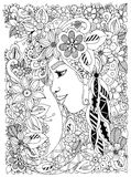 Vector illustration Zen Tangle portrait of a woman in a flower frame.  Royalty Free Stock Photo